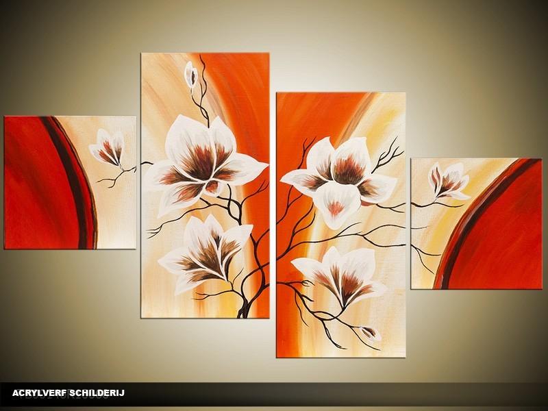 Acryl Schilderij Magnolia | Oranje, Crème, Rood | 100x60cm 5Luik Handgeschilderd
