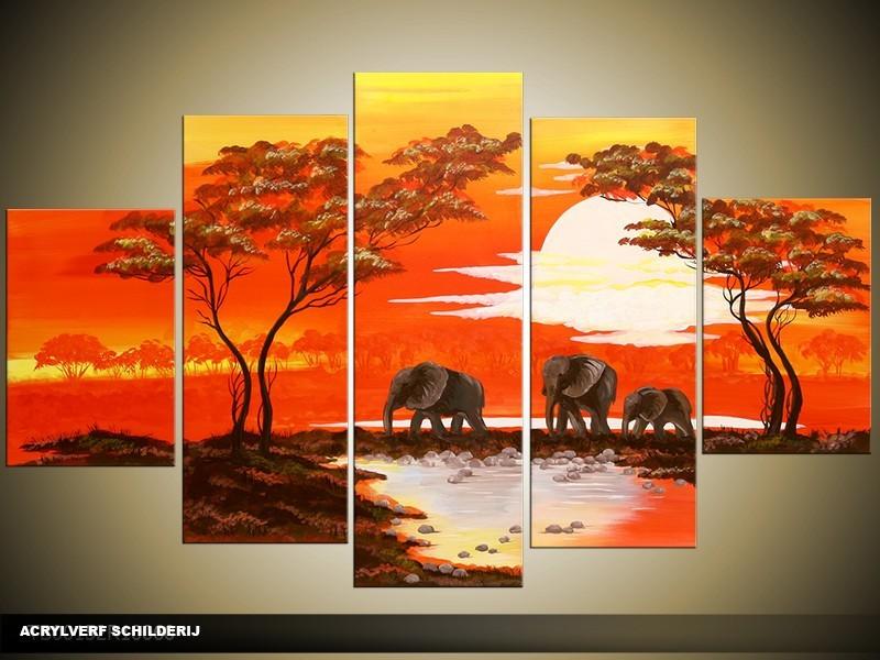 Acryl Schilderij Natuur | Rood, Crème, Bruin | 100x60cm 5Luik Handgeschilderd
