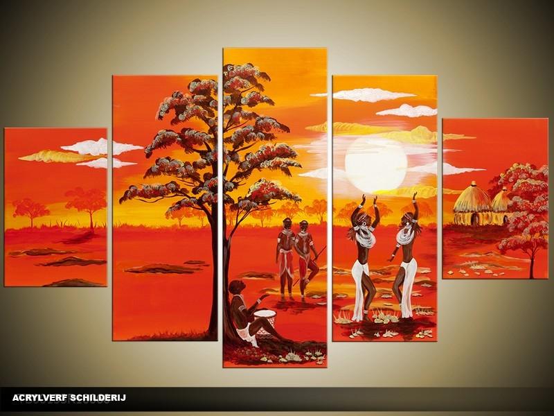Acryl Schilderij Natuur | Rood, Oranje, Geel | 100x60cm 5Luik Handgeschilderd
