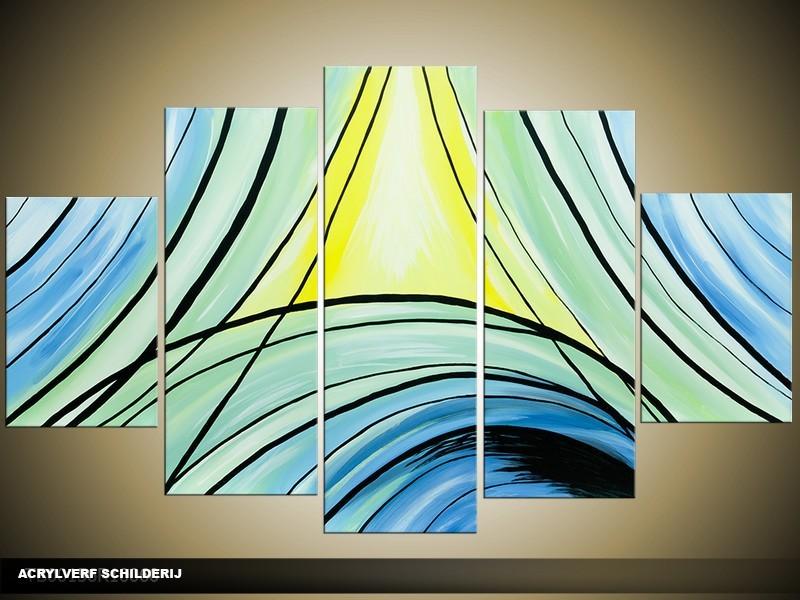 Acryl Schilderij Modern | Blauw, Groen, Geel | 100x60cm 5Luik Handgeschilderd
