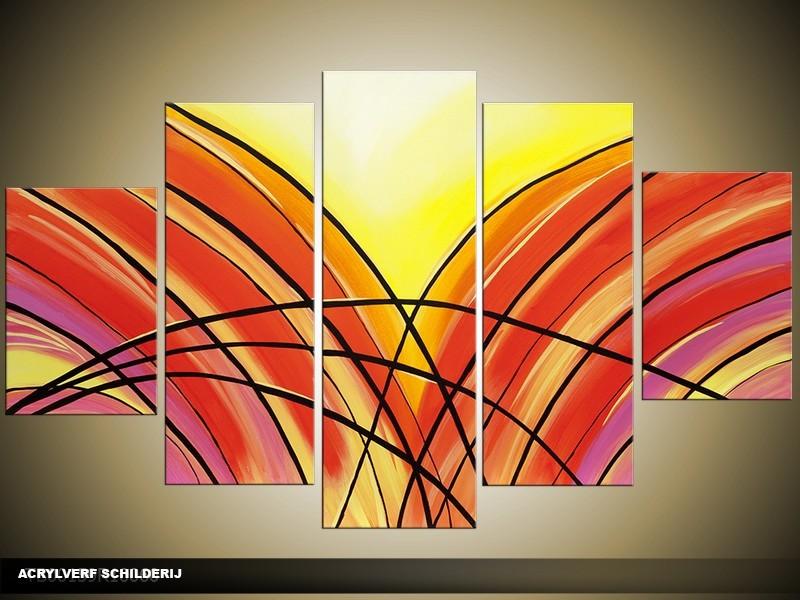 Acryl Schilderij Modern | Rood, Geel | 100x60cm 5Luik Handgeschilderd