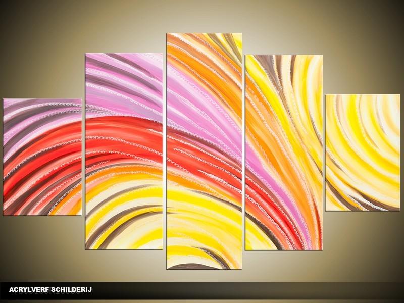 Acryl Schilderij Modern | Rood, Geel, Paars | 100x60cm 5Luik Handgeschilderd