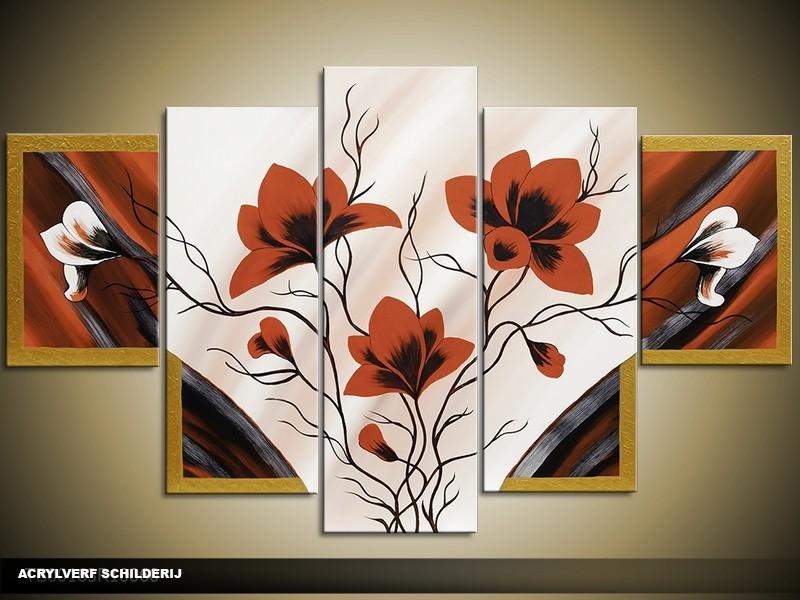Acryl Schilderij Magnolia | Bruin, Crème | 100x60cm 5Luik Handgeschilderd
