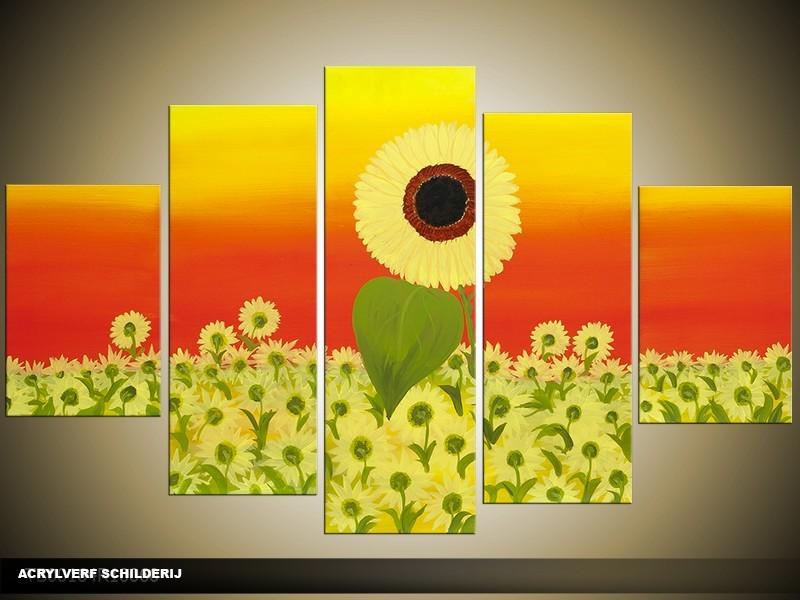Acryl Schilderij Zonnebloem | Geel, Rood, Groen | 100x60cm 5Luik Handgeschilderd