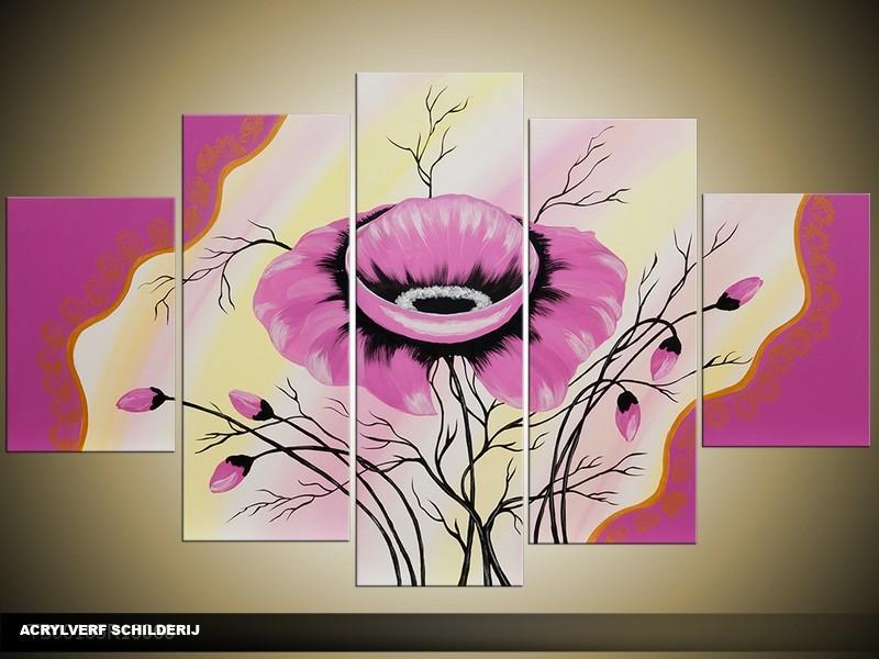 Acryl Schilderij Modern | Paars, Roze | 100x60cm 5Luik Handgeschilderd