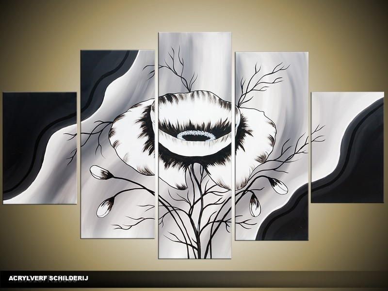 Acryl Schilderij Modern | Zwart, Grijs, Wit | 100x60cm 5Luik Handgeschilderd
