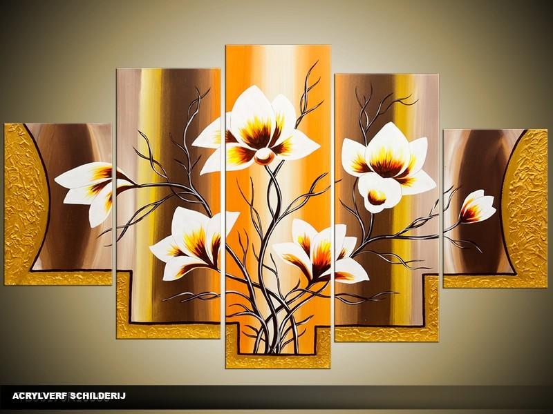 Acryl Schilderij Magnolia | Geel, Bruin | 100x60cm 5Luik Handgeschilderd