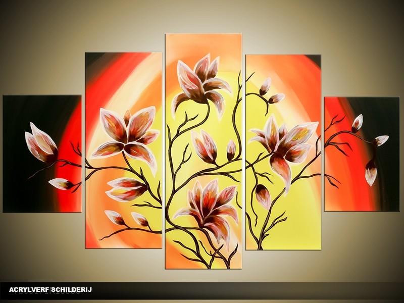 Acryl Schilderij Magnolia | Geel, Rood, Zwart | 100x60cm 5Luik Handgeschilderd