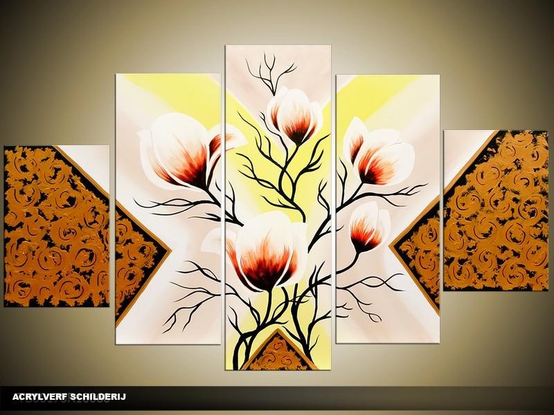 Acryl Schilderij Magnolia | Geel, Bruin, Crème | 100x60cm 5Luik Handgeschilderd