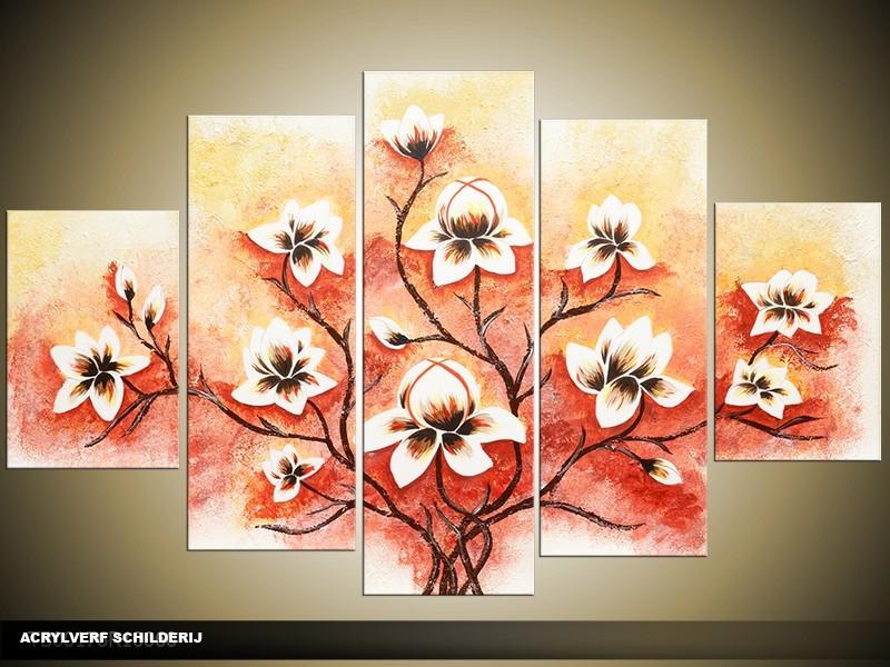 Acryl Schilderij Magnolia | Rood, Crème | 100x60cm 5Luik Handgeschilderd