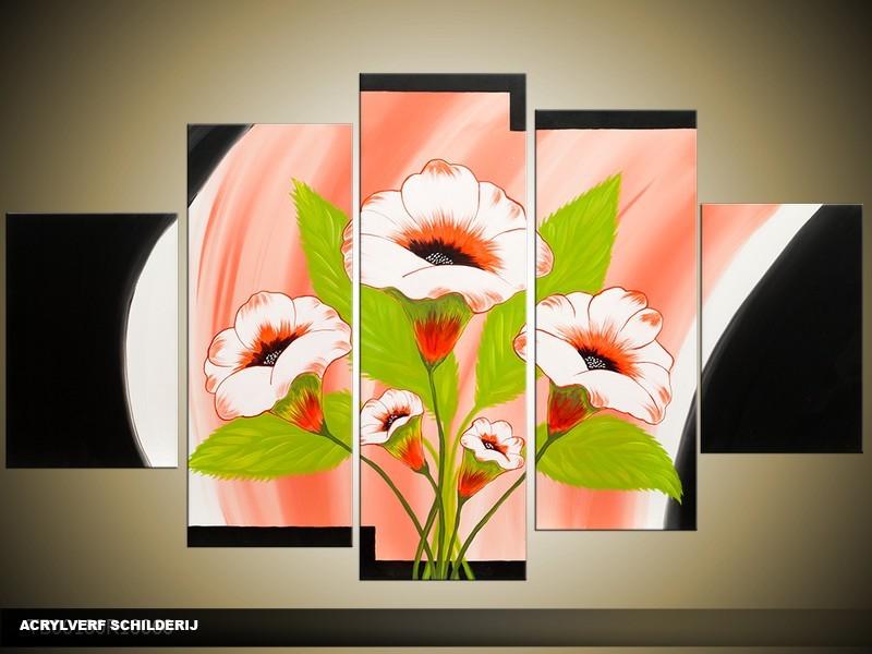 Acryl Schilderij Modern | Oranje, Zwart, Groen | 100x60cm 5Luik Handgeschilderd