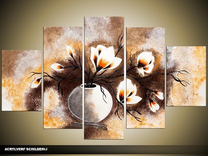 Acryl Schilderij Magnolia | Bruin, Crème, Oranje | 100x60cm 5Luik Handgeschilderd