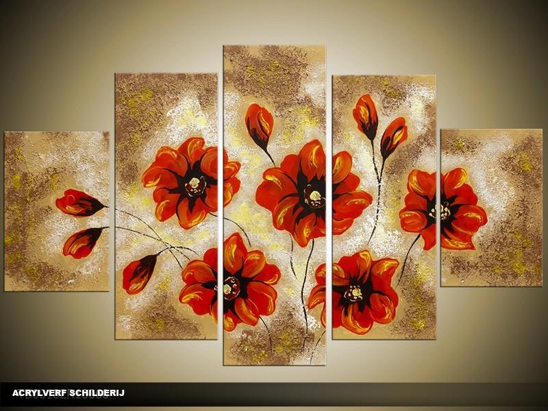 Acryl Schilderij Woonkamer | Rood, Bruin | 100x60cm 5Luik Handgeschilderd