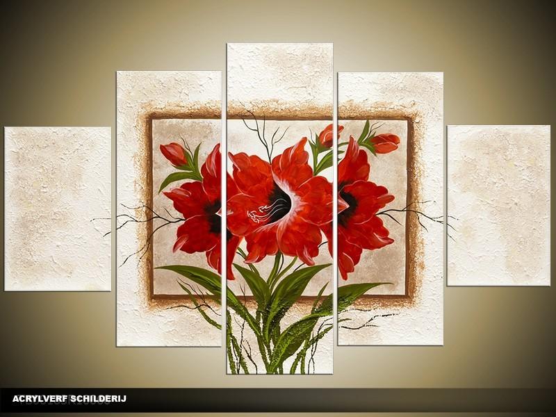 Acryl Schilderij Woonkamer | Rood, Crème, Bruin | 100x60cm 5Luik Handgeschilderd