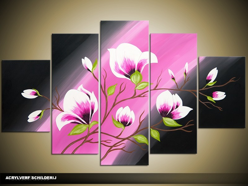 Acryl Schilderij Magnolia | Roze, Zwart, Groen | 100x60cm 5Luik Handgeschilderd