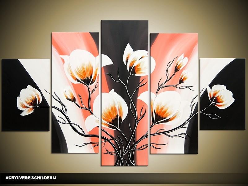 Acryl Schilderij Magnolia | Oranje, Zwart, Crème | 100x60cm 5Luik Handgeschilderd