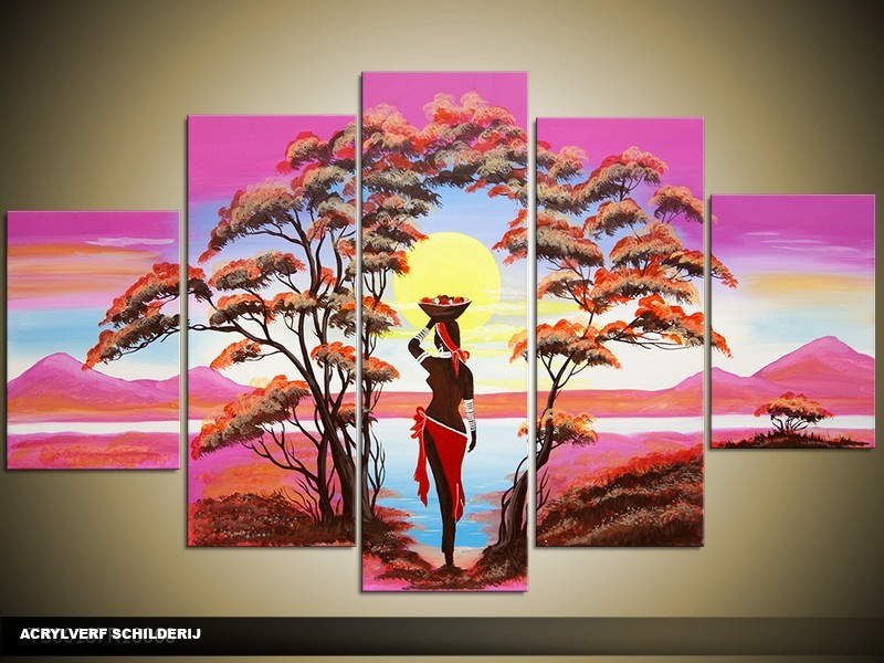 Acryl Schilderij Natuur | Roze, Paars, Blauw | 100x60cm 5Luik Handgeschilderd