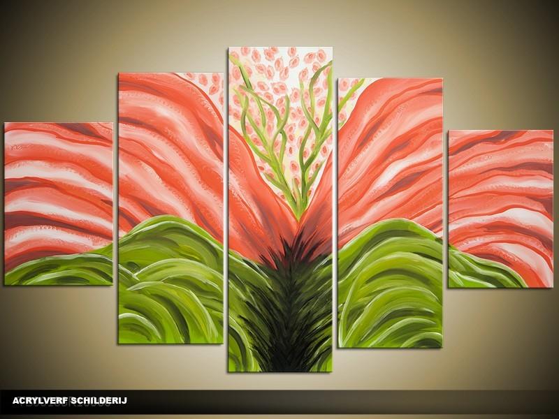 Acryl Schilderij Modern | Groen, Oranje | 100x60cm 5Luik Handgeschilderd