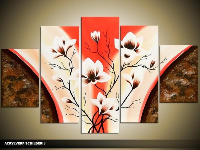 Acryl Schilderij Magnolia | Rood, Crème, Bruin | 100x60cm 5Luik Handgeschilderd