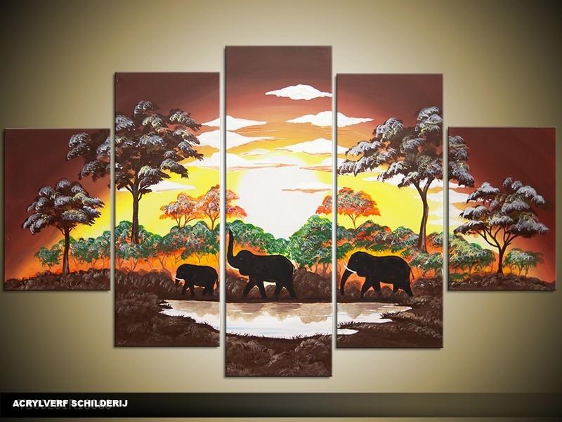Acryl Schilderij Natuur | Bruin, Geel, Oranje | 100x60cm 5Luik Handgeschilderd