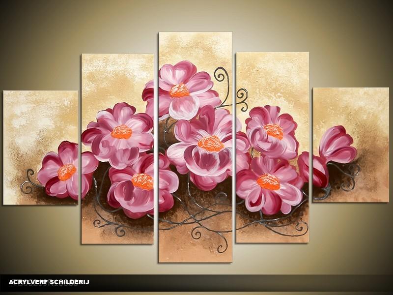 Acryl Schilderij Woonkamer | Paars, Crème, Bruin | 100x60cm 5Luik Handgeschilderd