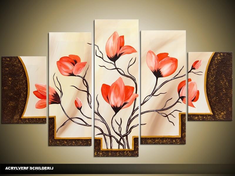 Acryl Schilderij Magnolia | Oranje, Crème, Bruin | 100x60cm 5Luik Handgeschilderd