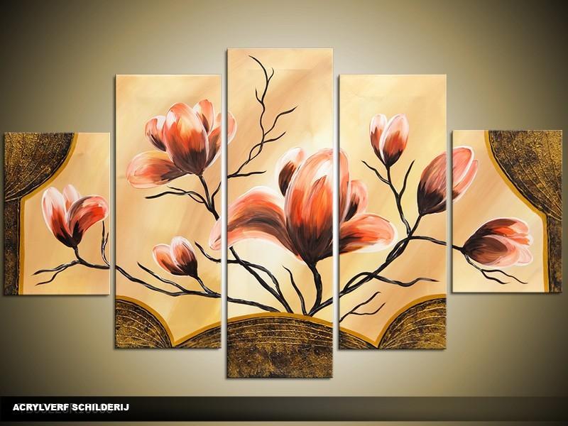 Acryl Schilderij Magnolia | Oranje, Bruin, Crème | 100x60cm 5Luik Handgeschilderd