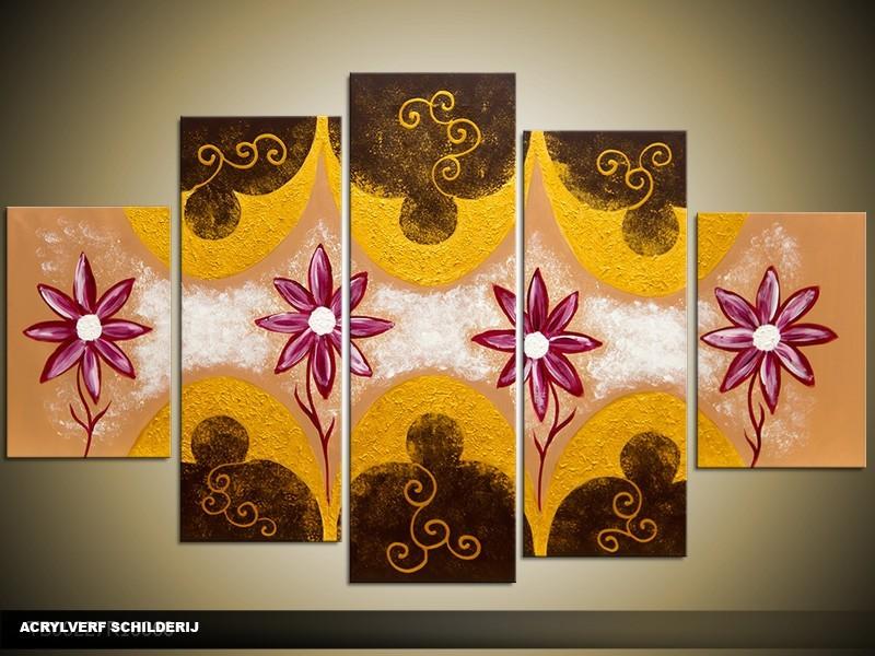 Acryl Schilderij Woonkamer | Bruin, Geel | 100x60cm 5Luik Handgeschilderd
