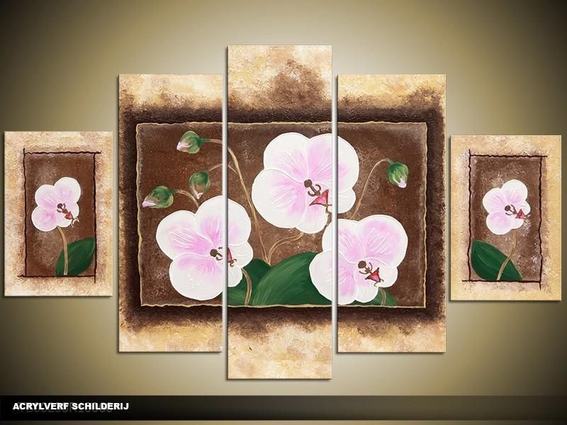 Acryl Schilderij Woonkamer | Geel, Bruin, Roze | 100x60cm 5Luik Handgeschilderd