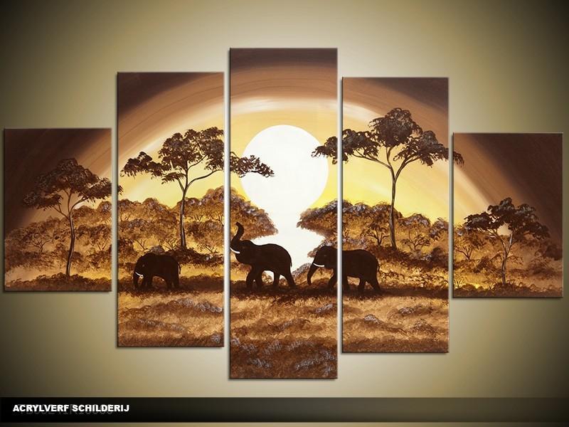 Acryl Schilderij Natuur | Bruin, Geel, Crème | 100x60cm 5Luik Handgeschilderd