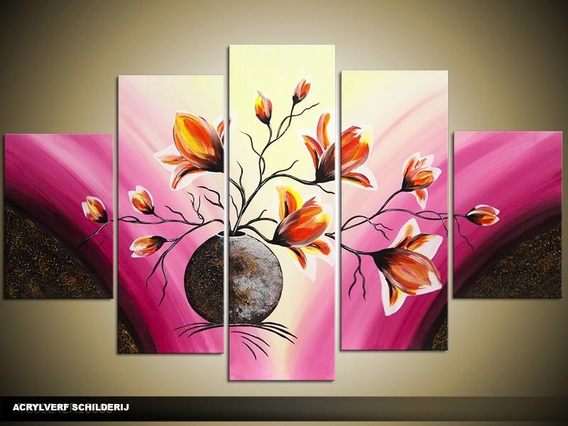 Acryl Schilderij Bloem | Roze, Geel | 100x60cm 5Luik Handgeschilderd