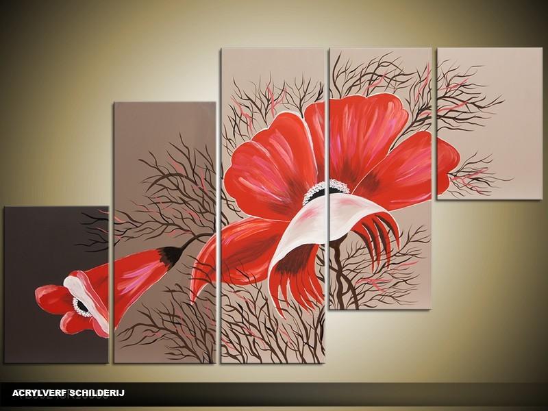 Acryl Schilderij Bloem | Rood, Bruin | 100x60cm 5Luik Handgeschilderd