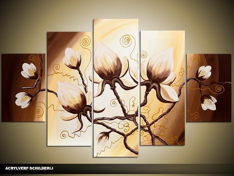 Acryl Schilderij Magnolia | Bruin, Crème, Geel | 100x60cm 5Luik Handgeschilderd