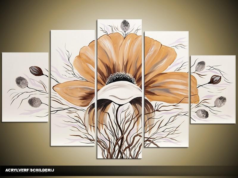 Acryl Schilderij Bloem | Bruin, Crème | 100x60cm 5Luik Handgeschilderd