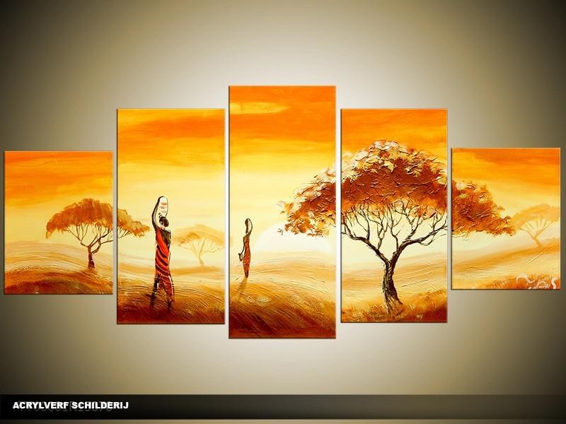 Acryl Schilderij Natuur | Oranje, Geel, Bruin | 150x70cm 5Luik Handgeschilderd