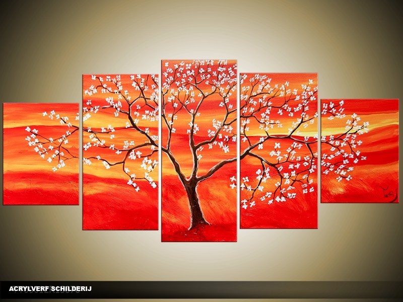 Acryl Schilderij Modern | Rood, Oranje, Geel | 150x70cm 5Luik Handgeschilderd