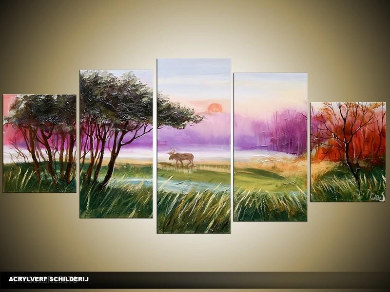 Acryl Schilderij Natuur | Paars, Groen, Geel | 150x70cm 5Luik Handgeschilderd