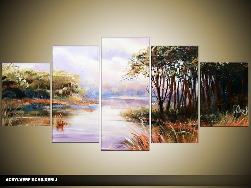Acryl Schilderij Natuur | Grijs, Groen | 150x70cm 5Luik Handgeschilderd