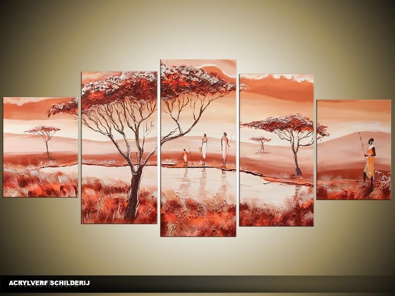 Acryl Schilderij Natuur | Bruin, Rood, Crème | 150x70cm 5Luik Handgeschilderd