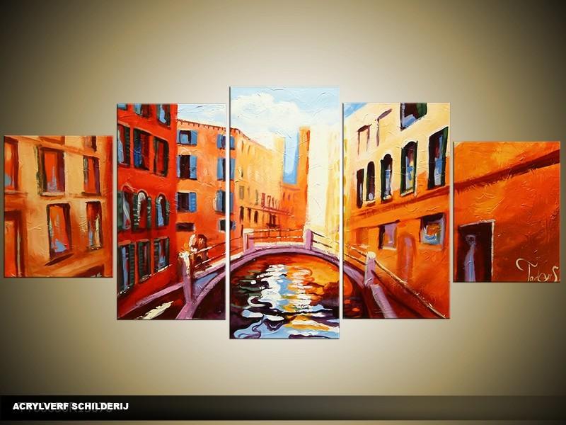 Acryl Schilderij Venetie | Oranje, Rood, Geel | 150x70cm 5Luik Handgeschilderd