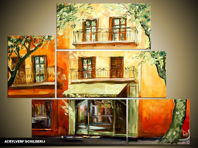 Acryl Schilderij Modern | Oranje, Geel, Groen | 150x70cm 5Luik Handgeschilderd