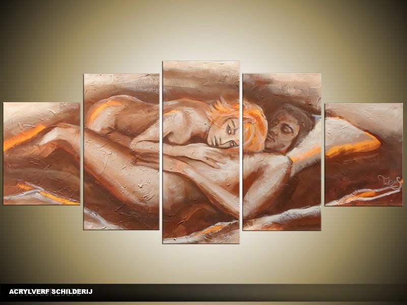 Acryl Schilderij Kunst, Sexy | Oranje, Bruin, Crème | 150x70cm 5Luik Handgeschilderd