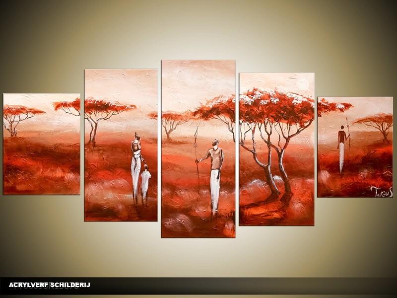 Acryl Schilderij Natuur | Rood, Crème | 150x70cm 5Luik Handgeschilderd