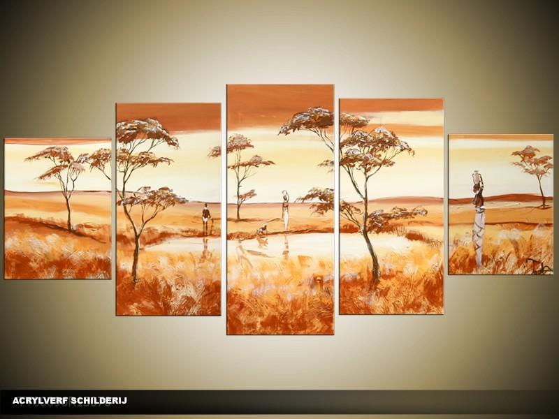 Acryl Schilderij Natuur | Bruin, Crème, Geel | 150x70cm 5Luik Handgeschilderd