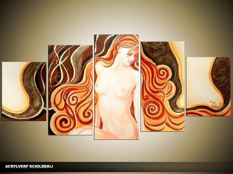 Acryl Schilderij Modern | Oranje, Geel, Bruin | 150x70cm 5Luik Handgeschilderd