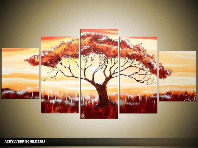 Acryl Schilderij Boom | Rood, Bruin, Crème | 150x70cm 5Luik Handgeschilderd