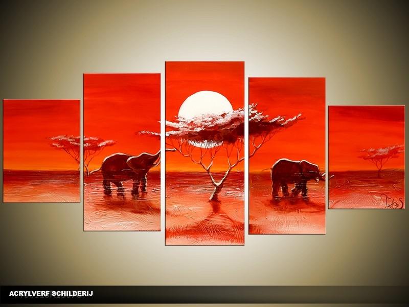 Acryl Schilderij Olifant | Rood | 150x70cm 5Luik Handgeschilderd