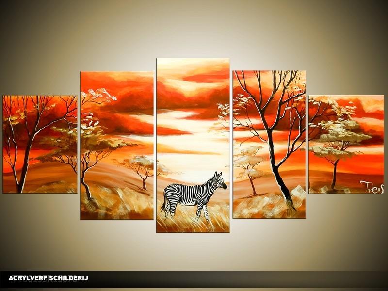 Acryl Schilderij Natuur | Rood, Crème, Bruin | 150x70cm 5Luik Handgeschilderd