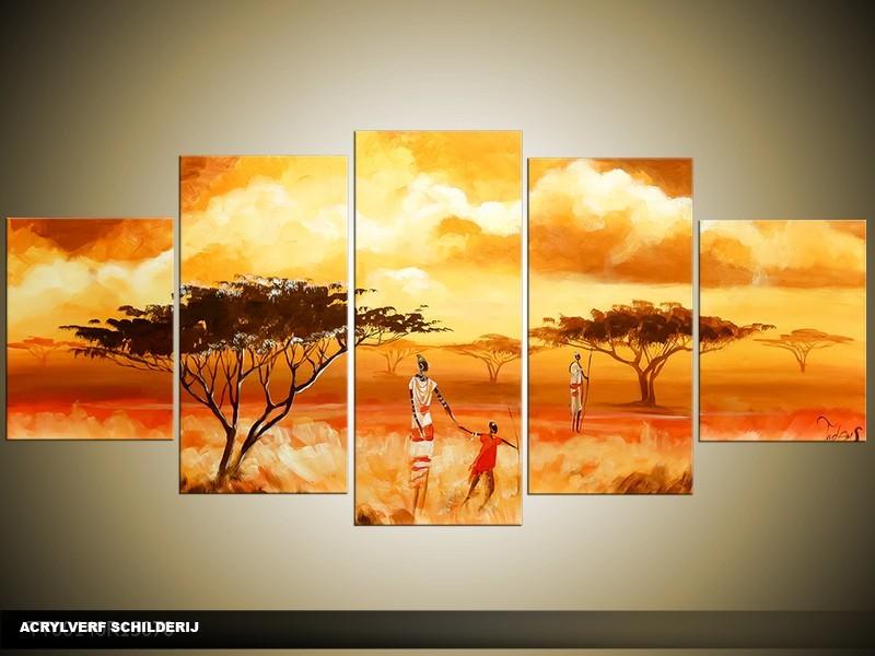 Acryl Schilderij Natuur | Geel, Oranje, Rood | 150x70cm 5Luik Handgeschilderd