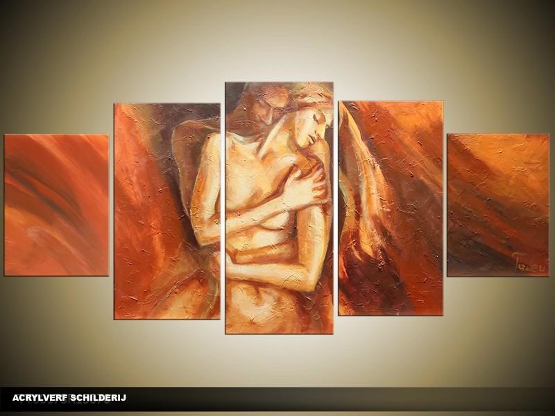 Acryl Schilderij Kunst, Sexy | Oranje, Crème | 150x70cm 5Luik Handgeschilderd